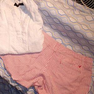 Pink & White Seersucker Shorts/8
